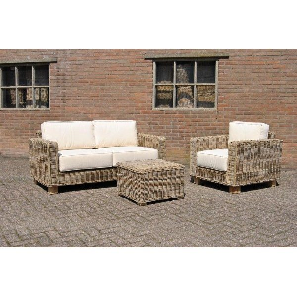 Bank 6955 en Stoel 6956 en Hocker 6927 in Grey rotan