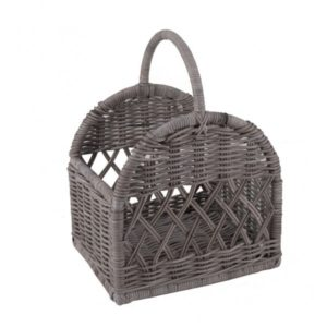 Houtblokmand in Grey rotan