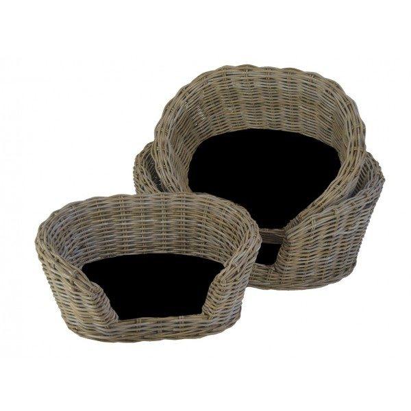 Hondensofa ovaal in Grey rotan met zwart kussen