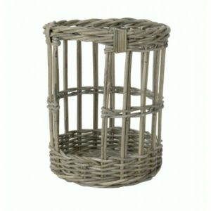 Stokbroodmand rond in Grey rotan